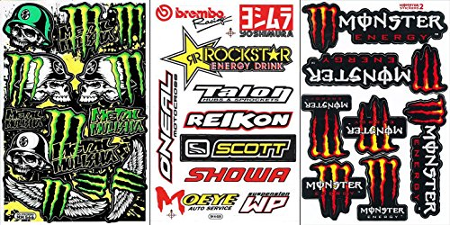 3 Energy Drink Metal Mulisha Yamaha Kawasaki Motocross Race Racing F1 Logo Sponsor Sticker Decal Skateboard Car Bike Bicycle Kid Wall Helmet Decoration Jan308
