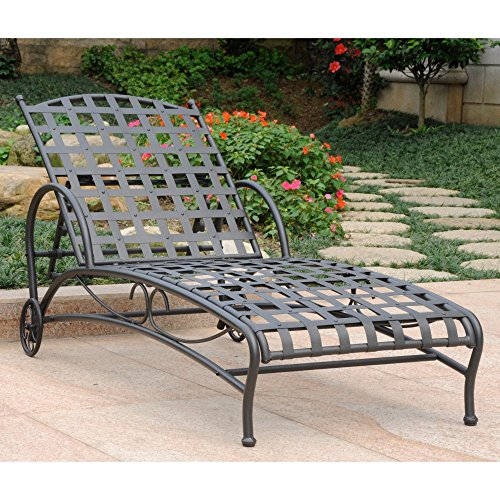 International Caravan Santa Fe Wrought Iron Multi Position Single Outdoor Chaise Lounge (Wrought Iron Chaise compare prices)