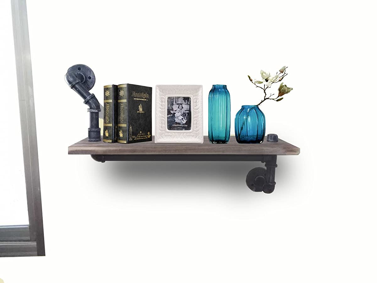 Reclaimed Wood & Industrial DIY Pipes Shelves Steampunk Rustic Urban bookshelf 24in Length