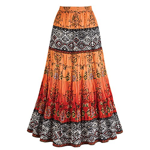 Women's Crinkle Broom Skirt - Chesca Coral Orange & Red Tribal Pattern - 2X (Chesca Direct compare prices)