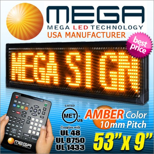 """Amber Led Sign - 53""""X9"""" Pitch 10Mm Outdoor Programmable Scrolling Message Display Board, Animated Images & Multi Languages"""