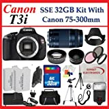 Canon EOS Rebel T3i (600d) SLR Digital Camera w/ Canon 75-300mm Lens, 3 Extra Lens, Extended Life Batteries, 32gb Sdhc Memory Card, Soft Carrying Cases, Tripod & Much More !!