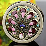 Spritech(TM) Portable Makeup Cosmetic Compact Mirror Bronze Retro Beauty Romantic Red Peacock Embossed Pattern Make up Mirrors Color Random