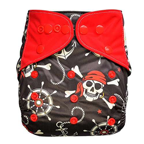 EcoAble Baby Charcoal Bamboo All-In-One AIO Cloth Diaper w/ Pocket, Size 10-30Lb (Pirate) (Lil Joeys Aplix compare prices)