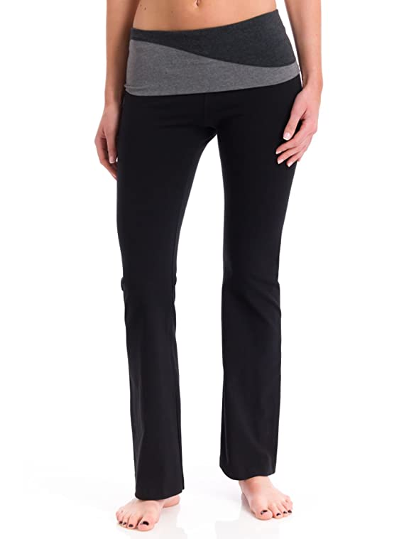 Hard Tail Colorblock Wave Waistband Flare Pant
