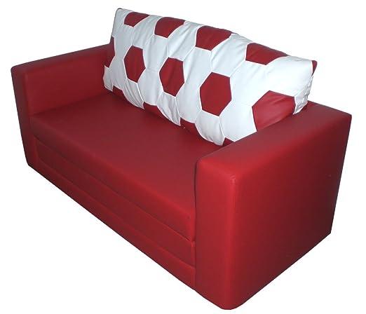 Schlafsofa im Fussball Design weiß rot