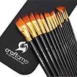 Craftamo Art Paint Brush Set for Watercolor, Acrylics, Oil & Face Painting - 15 Brushes with Carry Case/Pop Up Stand