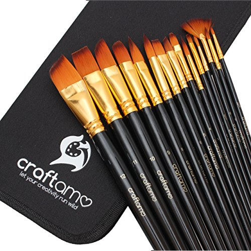 Art Paint Brush Set for Watercolor, Acrylics, Oil & Face Painting - 15 Brushes with Carry Case/Pop Up Stand by Craftamo (In Detail Existing compare prices)