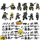12 SWAT Special forces figures Including Flags & Symbols and military accessories (Lego Compatible)