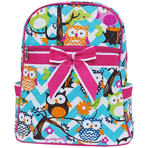 Aqua & White Chevron Owl Print Quilted Backpack