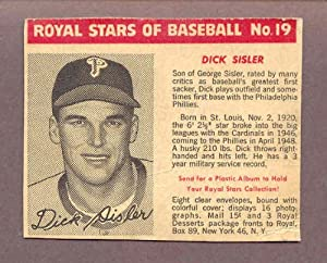1950 Royal Dessert #019 Dick Sisler Phillies VG-EX 182589 Kit Young Cards by ROYAL DESSERT