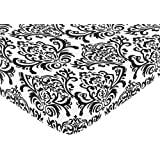 Black and White Isabella Fitted Crib Sheet for Baby/Toddler Bedding Sets by Sweet Jojo Designs - Damask Print