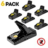 Mouse trap, Mouse Traps That Work Rat Trap Outdoor Indoor Best Snap Traps for Mouse/Mice Safe and Reusable 6 Pack Humane Mouse and Rat Traps (Color: Black Mouse trap, Tamaño: 6 Pack mice trap)
