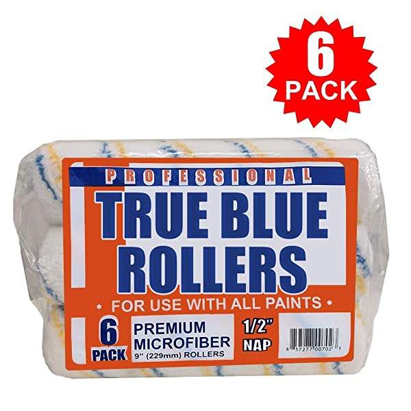 True Blue Professional Paint Roller Covers, Best for All Types of Paint (6, 9 x 1/2) (Tamaño: 9 x 1/2)