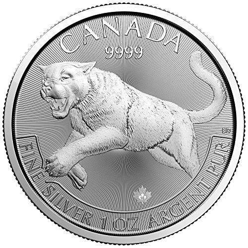 """Predators Canada 2016 Cougar 5"""" 1"""" Dollars OZ (3,1 gr) Argent 999 Silver Coin Pièce de Monnaie"""