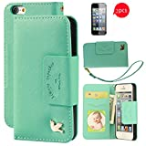iPhone 5S case,iPhone 5 case,[with 2 FREE HD Screen Protectors]By HiLDA,Wallet Case,PU Leather Case,Credit Card Holder,Flip Cover Case[PureGreen]