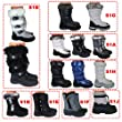 Womens Ladies S1J Black Grey Silver Winter Faux Fur Waterproof Jogger Moon Yeti Flat Ski Snow Boots Size 4