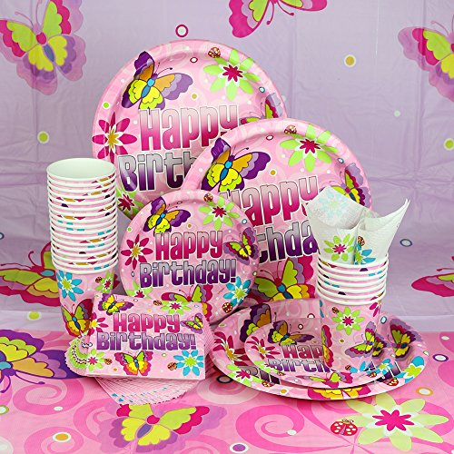 Pink Butterfly Birthday Party Decoration Set, Tablecloths, Plates, Cups And Napkins, Total Of 155 Items