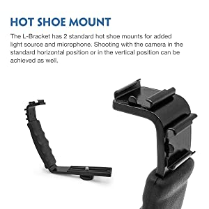 Moman Camera Bracket Mount, Heavy Duty Photography L-shaped Flash Bracket with 2 Cold Shoe Mounts for Zhiyun Gimbal / DSLR Camera / Light / Microphone