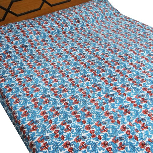 Patrón algodón acolchado hecho a mano Kantha Stitch Floral Blanco Twin Size Colcha India 92