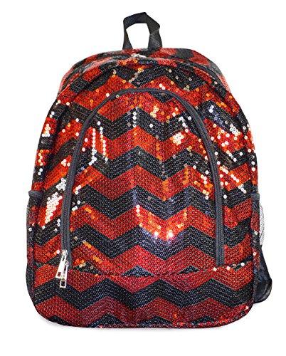 N. Gil Red Black Sequin Chevron Backpack School Bag