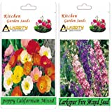 Alkarty Poppy Californian Mixed And Larkspur Fire Mixed Seeds Pack Of 20 (Winter)
