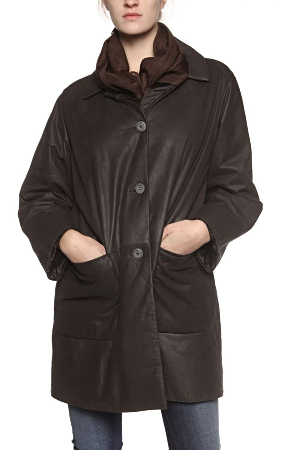 Foreight Collection Damen Jacke Ledermantel Wendemantel DOUBLE FACE, Farbe: Schwarz
