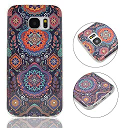 Galaxy S7 Case, Turf Totem Series Painted Patterns Protective Soft TPU Skin Bling Swarovski Element Crystal Back Cover for Sansung Galaxy S7 Pattern A