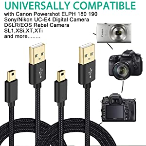 USB Data Cable for Canon Powershot/EOS/Sony/Nikon UC-E4 Digital Camera DSLR, Replacement Interface Cord for ELPH 180, 190 IS,IFC-400PCU, IFC-300PCU and IFC-200PCU and more (Color: 3.3ft x 2Pack Cam)