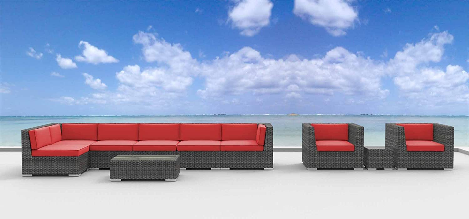 www.urbanfurnishing.net Urban Furnishing - MANADO 10pc Modern Outdoor Backyard Wicker Rattan Patio Furniture Sofa Sectional Couch Set - Coral Red at Sears.com