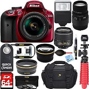 Nikon D3400 24.2 MP DSLR Camera + 18-55mm VR Nikon & 70-300mm SLD DG Sigma Lens Package + Bundle 64GB SDXC Memory + Photo Bag + Wide Angle Lens + 2x Telephoto+Flash + Remote + Tripod + Filters