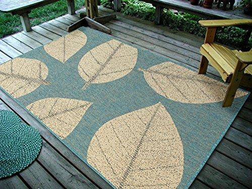 4 5 Quot X7 135x215cm Big Leaves Ocean Blue Indoor