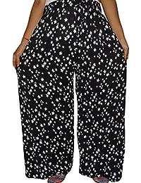 Bigfashionshop Womens Rayon Palazzo Black Color Star Print Wide Leg Pants (Black And White)