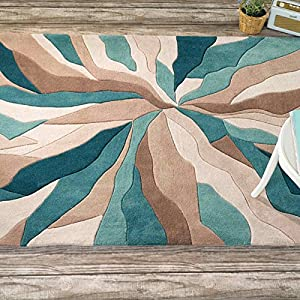 Flair Mat Infinite Splinter Rug Teal 80X150 Oblong 100% Polyester by Flair Rugs