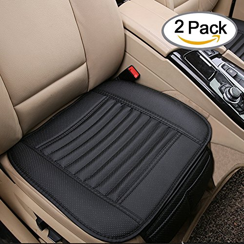 Breathable 2pc Car Interior Seat Cover Cushion Pad Mat for Auto Supplies Office Chair with PU Leather Bamboo Charcoal (Front Leather Seat Covers compare prices)