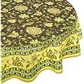 Mahogany Jenna Printed Round Tablecloth, 70-Inch, Chocolate