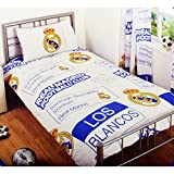 Real Madrid CF Childrens/Kids Official Patch Football Crest Single Duvet Set (Double) (White/Blue/Yellow)