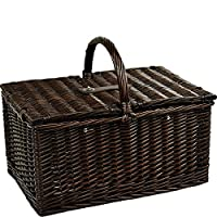Picnic at Ascot Buckingham Willow Picnic Basket with Service for 4 with Blanket and Coffee Service - Blue Stripe by Picnic at Ascot