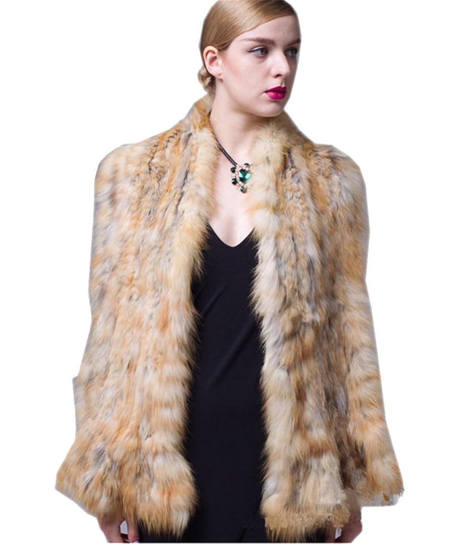 YRLOVE Mode Damen Echter Gestricktes Fuchs Pelz Stahl Kap Poncho Mantel bestellen