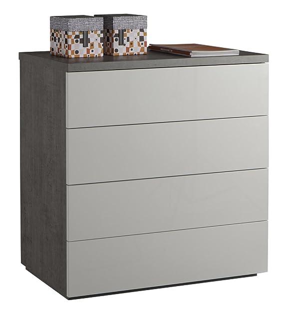 Cassettiera quattro cassetti con struttura color cemento e frontali bianco laccato lucido