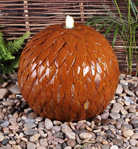 Fontaine Sphère Acier Corten avec LED - 45cm