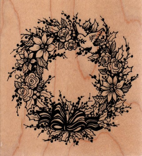 Poinsettia Dove Wreath Wood Mounted Rubber Stamp (K3095)