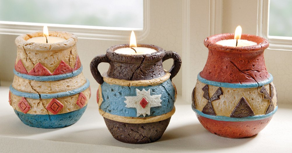 Southwest Adobe Pottery Tealight Candle Holders