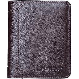 FlyHawk Genuine Leather RFID Blocking Wallets Mens thin Wallet
