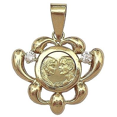18k gold cubic zirconia pendant [442]