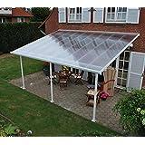 Hochwertige Aluminium Terrassenüberdachung, Terrassendach 400x1031 cm (TxB) - weiß