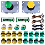 Gamelec 2-Player Arcade Buttons and Joysctick Controller Kit for PC Games and Raspberry Pi with Zero Delay USB Encoder,8 Way Joystick and LED Illuminated Buttons for Mame Jamma (Green&Yellow)