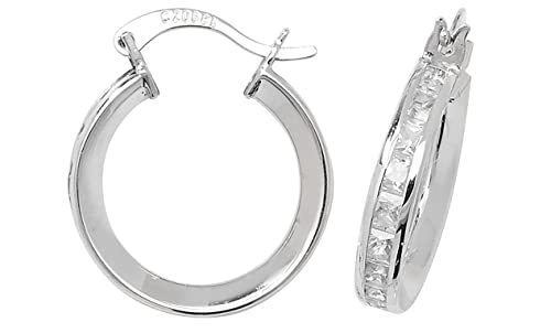 9ct White Gold Cubic Zirconia Large Hoop Earrings
