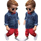 Sharemen Toddler Kids Baby Boy Denim Long Sleeve T-Shirt Tops Pants Trousers Outfits Clothes (Blue, 3-4Years)