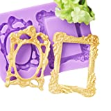 Mirror Frame Silicone Mold Fondant Sugarcraft Cake Decorating Tools Chocolate Candy Mold (Color: Stlye 2)